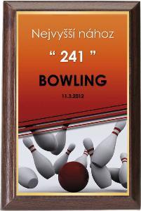 Døevìná plaketa - bowling - PLP3M17